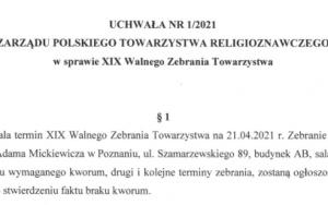 XIX Walne Zebranie PTR - 21.04.2021 r.