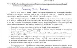 Prośba o dodanie Polskiego Towarzystwa Religioznawczego do wykazu wydawnictw publikujących recenzowane monografie naukowe