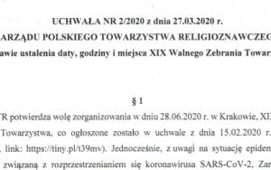 Uchwała w sprawie ustalenia daty, godziny i miejsca XIX Walnego Zebrania PTR