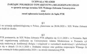 XIX Walne Zebranie PTR – 12.11.2020 r., Poznań